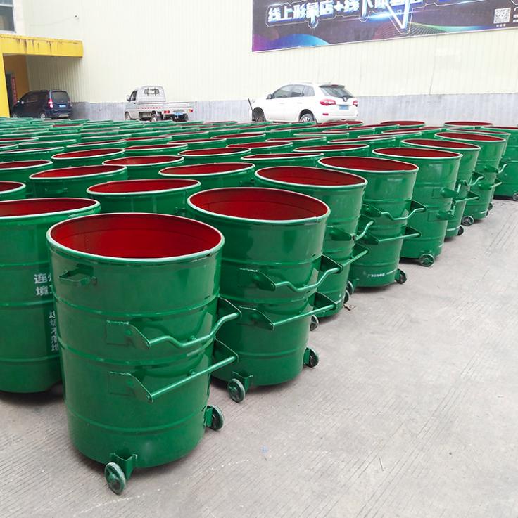 360升铁垃圾桶 户外环卫大铁桶 圆形铁皮挂车垃圾桶铁制垃圾箱