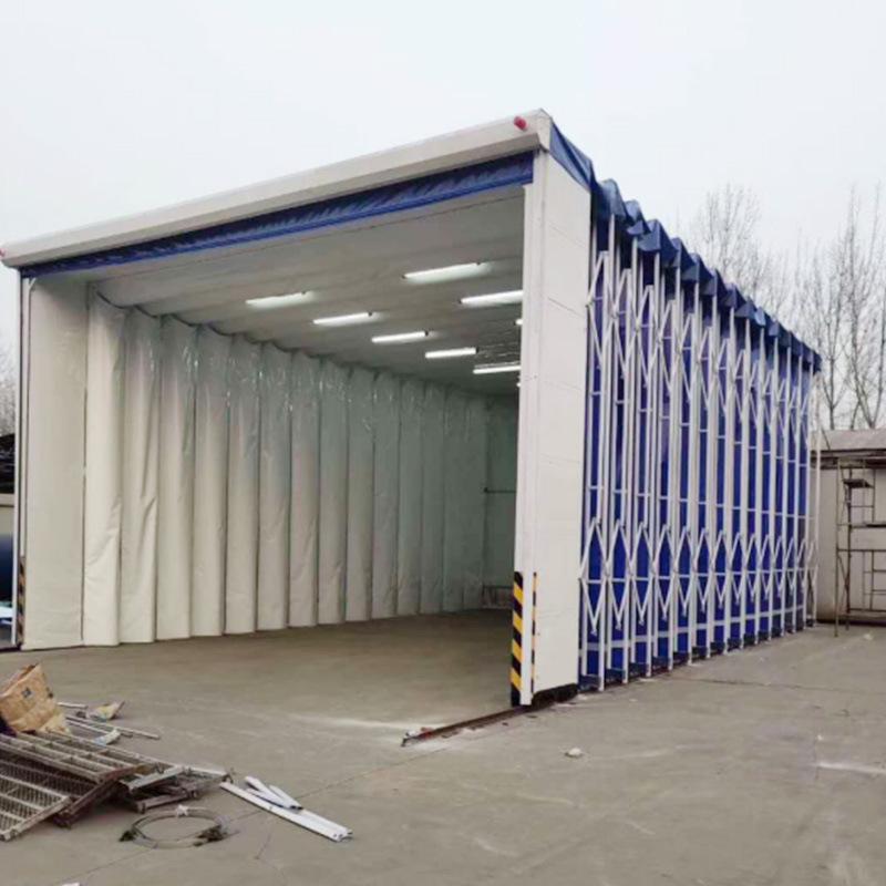 移动式轨道伸缩喷烤漆房自动拉伸棚打磨房汽车家具大型折叠设备