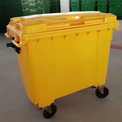 批发360升660升1100升大型户外垃圾桶 红绿蓝黄色660L四轮垃圾桶