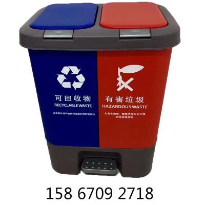供应20升40升双桶双盖脚踏垃圾桶分类干湿蓝黄绿灰黑咖双盖果皮箱