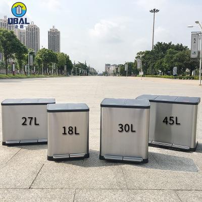 批发定制不锈钢北京双四分类上海西安干湿分类脚踏垃圾桶厂家直销
