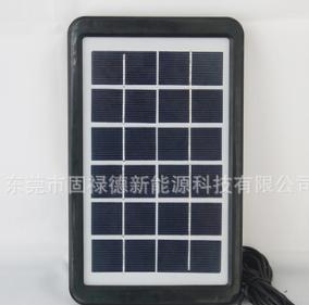 直销6V3W光伏太阳能板单多晶5.5DC USB头塑胶框充手机小系统3米线